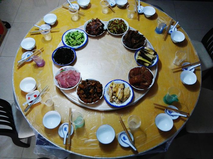 High Angle View Of Food Arranged On Table During Chinese New Year