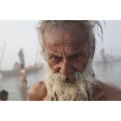 Portrait of a man bathing in the Ganges river, India Portrait Ontheroad Instagood Reportage documentary humaninterest photodocumentary photojournalism asia everydayasia religion photooftheday picoftheday face dailylife india ganges capture