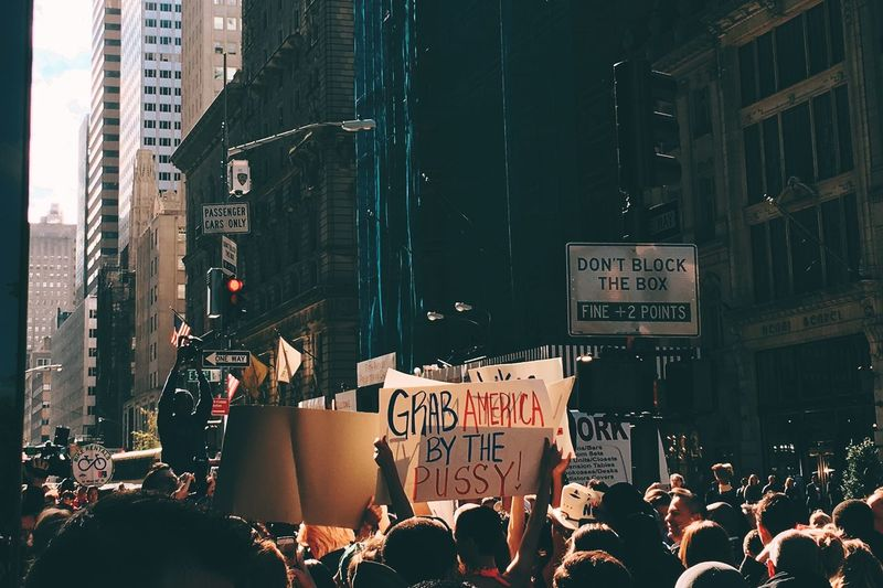 Protest Adult Anger Architecture Banner - Sign Building Exterior Built Structure City Communication Crowd Day Large Group Of People Men Message Outdoors People Placard Protest Protestor Real People Riot Social Issues Text Trump Women