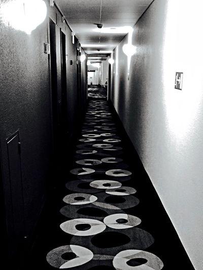Hotel Corridor Ominous B&w Pattern Carpet