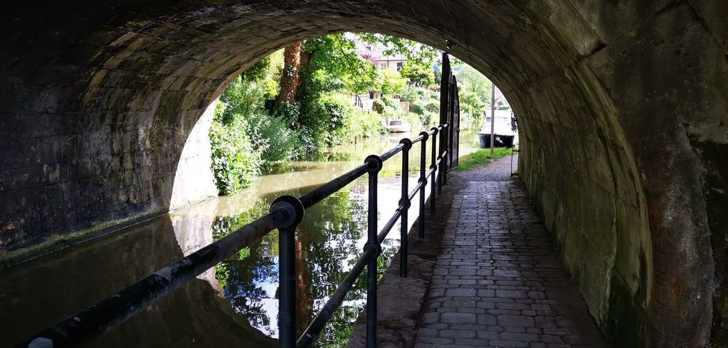 Arch bridge over canal amidst trees