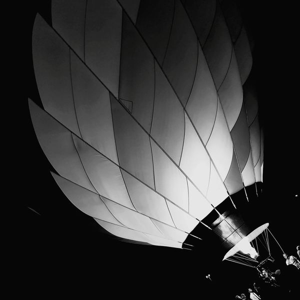 Hot Air Balloon Night Flame Close-up Outdoors People Sky