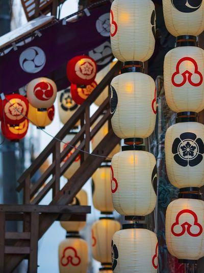 Lanterns hanging for sale in market