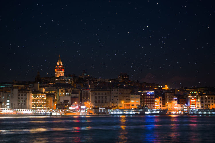 Architecture Building Exterior Built Structure City City Lights Galata Illuminated Istanbul Long Exposure Long Exposure Shot Milkyway Night No People Outdoors Reflection River Sky Sky And Clouds Spire  Star Field Stars Water Waterfront