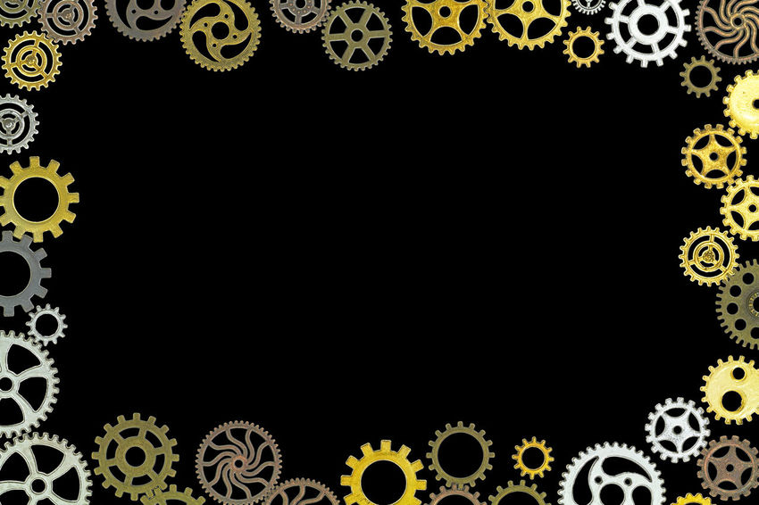 background Abstract Background Backgrounds Black Background Black Color Blank Close-up Copy Space Cut Out Decoration Design Design Element Floral Pattern Full Frame Gear Indoors  No People Pattern Shape Steampunk Studio Shot Technology Textured Effect Yellow
