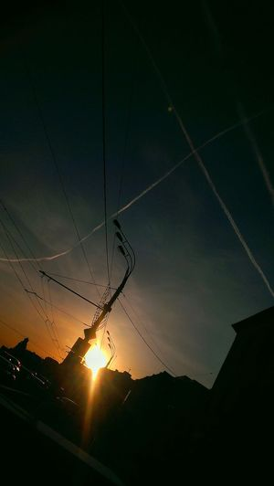 Moscow sundown & aircraft tracers Sky Aircraft Trails Sundown Orange Blue Sky Wired Urban Geometry Moscow
