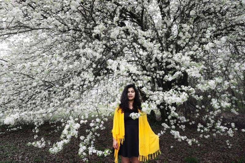 Tree Front View Flower Young Adult One Person Yellow Nature Beauty Beautiful Woman Adult Standing Springtime Beauty In Nature Young Women Looking At Camera Outdoors Day Portrait One Young Woman Only Vacations