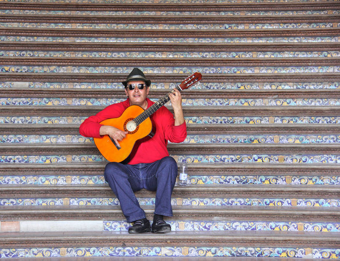 Coloured Steps Gitano  Guitar Musician One Musician Steps And Staircases Street Photography Strumming His Guitar