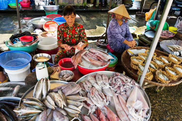 High angle view of fish for sale at market stall