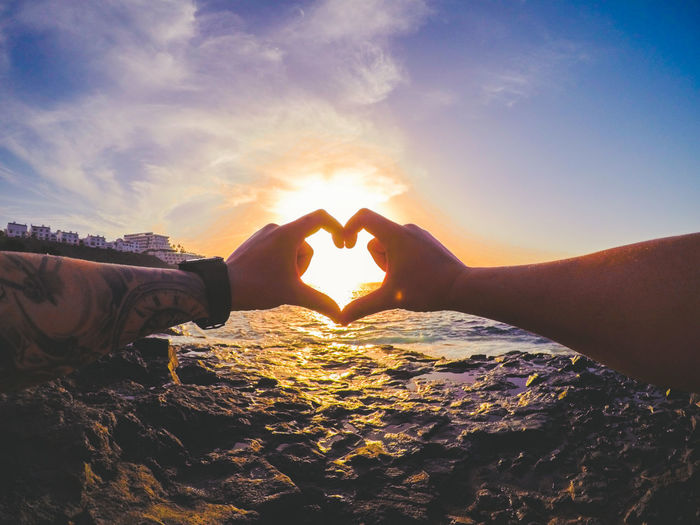 Beauty In Nature Close-up Cloud - Sky Day Forming Gopro Heart Shape Human Body Part Human Hand Love Men Mountain Nature Outdoors People Real People Scenics Sea Sky Sun Sunset Togetherness Tranquil Scene Two People Water