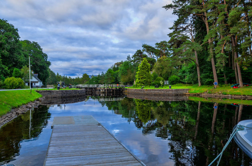 Reflection Water Tree Nature Sky Tranquility Outdoors Caledonian Canal Kytra Locks