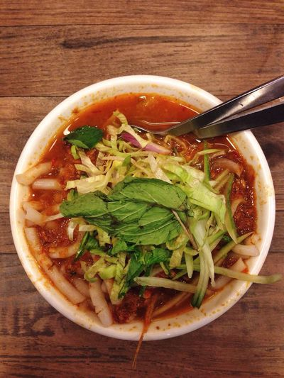 Laksa. Food Table Soup Delicious Happiness Bowl Asamlaksa Spicy Sweet Spoon And Fork AhChengLaksa