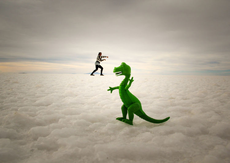 Optical illusion of woman fighting with dinosaur on cloudscape during sunset