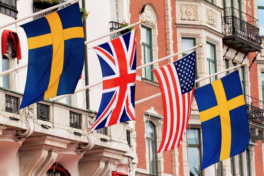 Country Flags Flags Flags In The Wind  Embassy Government Government Building Diplomate Building Building Exterior Architecture EyeEm Gallery EyeEm Best Shots EyeEmBestPics EyeEm Best Edits Popular Swedish Flag American Flag United Kingdom Flag Stockholm Sweden MISSIONS: The Street Photographer - 2017 EyeEm Awards