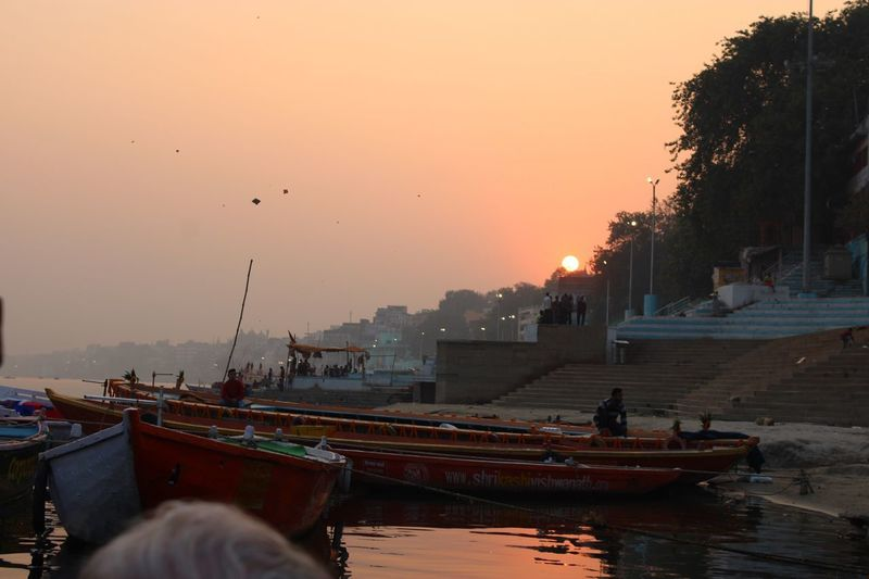 Sunset & kites over the Ganges Sky Sunset Transportation Water Nautical Vessel Mode Of Transportation City