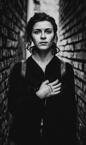 Architecture Beautiful Woman Beauty Brick Brick Wall Contemplation Fashion Focus On Foreground Front View Hairstyle Leisure Activity Lifestyles Looking At Camera One Person Portrait Real People Standing Waist Up Wall - Building Feature Women Young Adult Young Women The Portraitist - 2018 EyeEm Awards