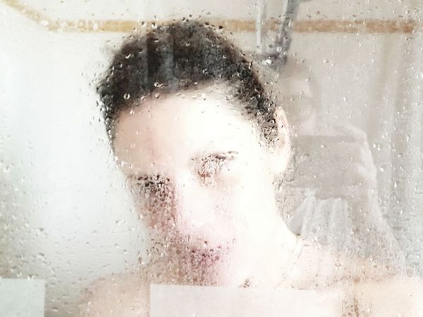 Portrait Of A Woman Show Her Water Portrait Beautiful Woman Headshot Human Face Window Young Women Front View Wet Looking At Camera Pixelated Shower Wet Hair Drop Transparent Droplet