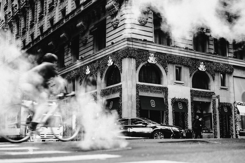 5th Avenue City Cityscape Driving Manhattan Smoke Bicycle Blackandwhite Street An Eye For Travel