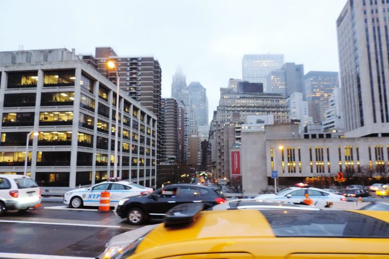 NY Winter City Architecture Buildings Traffic Taxi
