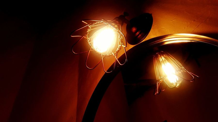 miracle window Electric Light Two Nightlife Light And Shadow Warm Light Lamplight Reflection Night Mirror Mirror Reflection Magic Window Orange Color Filament Close-up
