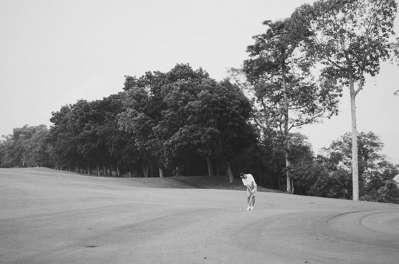 Black And White Nature Golfing Sports Landscape