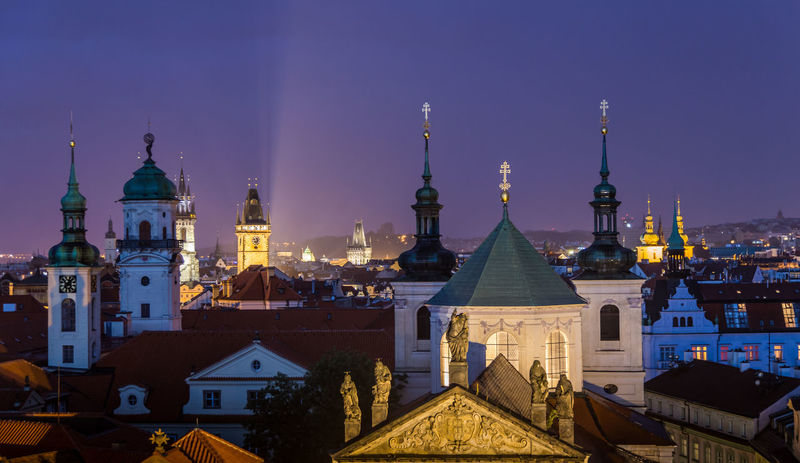Architecture Building Exterior Built Structure City Cross Czechoslovakia Dome History Illuminated Night No People Outdoors Place Of Worship Prague Religion Sky Spirituality Tower Travel Destinations Tschechien Tschechischen Republik
