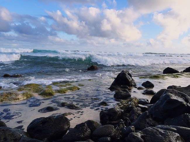 Hawaii Water Sea Cloud - Sky Sky Beach Rock Beauty In Nature Wave Tranquil Scene Horizon Over Water Land Scenics - Nature Nature Horizon Outdoors Rock - Object No People Solid Motion Tranquility EyeEmNewHere