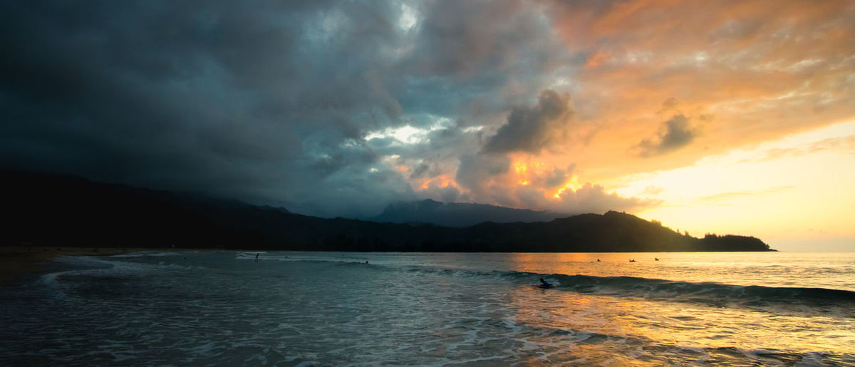 Sunset in Hanalei Bay, Kauai, Hawaii. Beach Beauty In Nature Cloud - Sky Day Mountain Nature No People Outdoors Scenics Sea Sky Storm Cloud Sunset Tranquil Scene Tranquility Water The Great Outdoors - 2017 EyeEm Awards