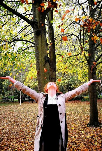 London Lifestyle Hyde Park, London Autumn Colors Autumn Orange Color Beauty In Nature Arms Raised Arms Outstretched Human One Person Outdoors People Nature