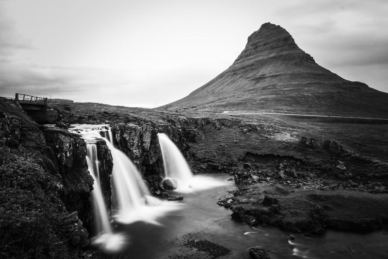 Kirkjufell Black And White Blackandwhite Iceland Long Exposure Scenics - Nature Environment Water Waterfall Beauty In Nature Long Exposure Motion Mountain Landscape Travel Destinations Rock - Object Outdoors