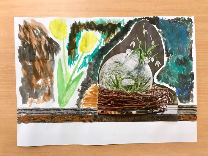 No People Art And Craft Paint Creativity Drawing - Art Product Nature Water Outdoors Paper Multi Colored Craft High Angle View Close-up Still Life Wood - Material Directly Above Dirty Paintings Day Watercolor Paints