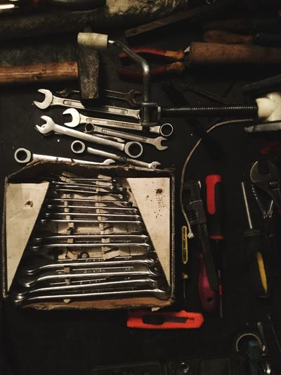 Tools Repair Metal Old-fashioned Indoors  No People Close-up Day Indoors  Car Car Repair Car Tools Mode Of Transport