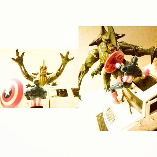 Attack of the kaiju!! Marveluniverse MarvelInfiniteseries Marvel Steverodgers Merica Captainamerica Kaiju PacificRim Crossover Figures Havingfun