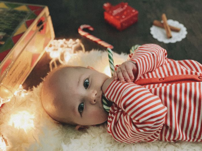 Child Childhood One Person Indoors  Innocence Cute Young Baby High Angle View Christmas Christmas Decoration Christmas Lights Baby In Red Clothes Babyhood Newborn Cute Boy Boy 4 Months Old Real People Toddler  Lying Down Home Interior Relaxation