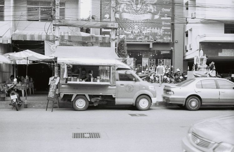 Coffee truck on street Film Film Photography Ilfordpan100 Black And White Analogue Photography Olympus Om-10 Monophotography Streetphotography A Day In Thailand