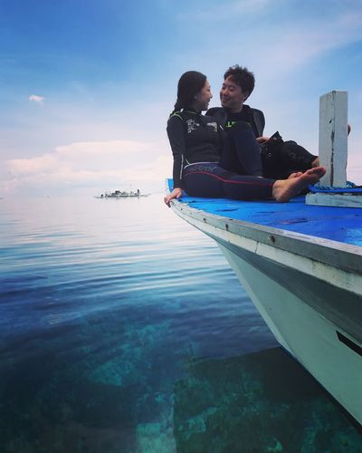 Sea Life Diver Scuba Diving Diving Sea Balicasag Two People Water Love Togetherness Sky Vacations Couple - Relationship