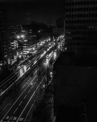 At night I think best Urbanphotography Urban Blackandwhitephoto Night Illuminated Building Exterior Architecture Built Structure City EyeEm Ready   Transportation No People Outdoors Speed Cityscape Road High Street Sky High Angle View Mobility In Mega Cities