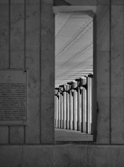 Passage to the past Built Structure Architecture No People Wall - Building Feature Indoors  Building Safety Protection Day Security Pattern In A Row Selective Focus Wall Colonnade Colonial Architecture Bogotá Cityview Passage Entrance Glimpse Perspective Historic History Catching A Glimpse