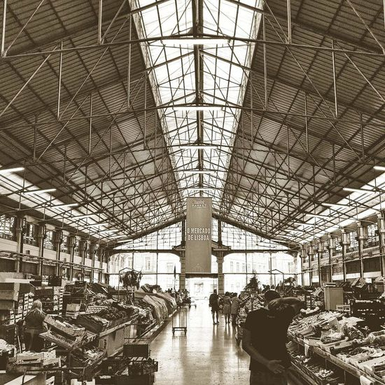 Food hall vibes Indoors  Travel Ceiling Built Structure People Travel Destinations Blue Travel Potugal Lisbon - Portugal Lisboa Lisbon City Architecture Lifestyles Market Food Market Stall TIME OUT MARKET Food Porn EyeEmNewHere Blackandwhite
