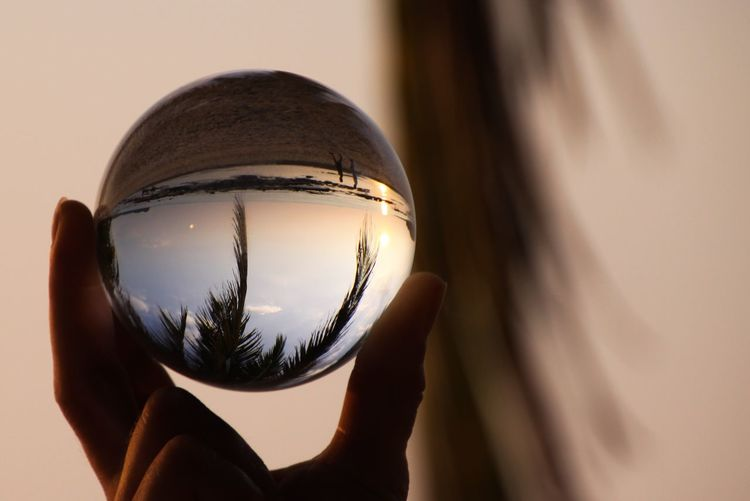 Catching the moment and atmosphere of tropical island Ko Lanta in a crystal ball, Thailand Reflection Sea Beach Nature Evening Paradise Shadow Dawn Sunlight Finger Crystal Ball Sphere Close-up Holding Palm Leaf Andaman Body Part One Person Ko Lanta Human Hand Glass - Material Unrecognizable Person Human Body Part Hand Transparent