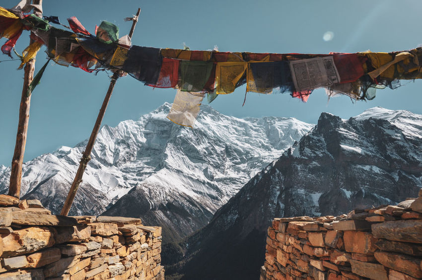Nepal Annapurna Conservation Area Tibet Travel Mountain Buddhism Religion Peak Colourful Mountain Flag Sky A New Beginning