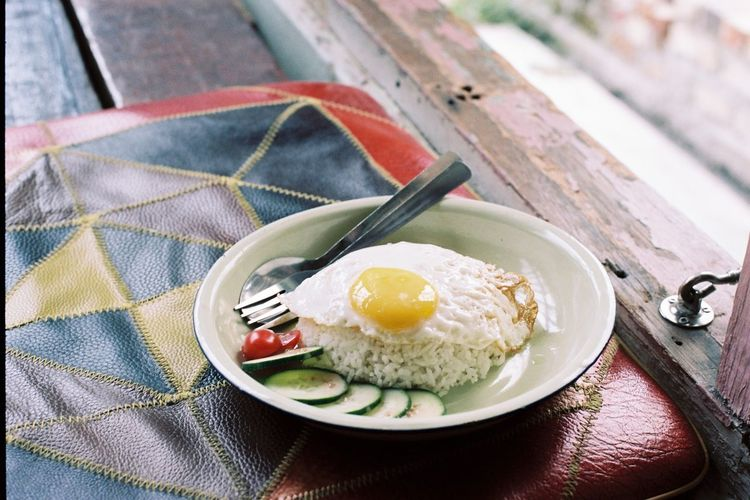 Egg Om2 Film Photography #portra160 Egg Egglover Food And Drink Table Food Breakfast Ready-to-eat Freshness Close-up