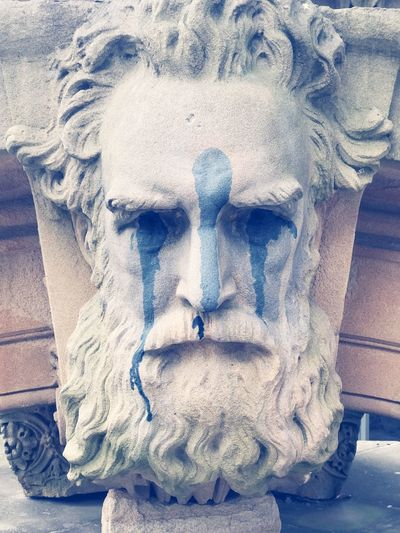 Statue Grey Art Graffiti Beard Face Serious Mood History Classic Man Male Stone Trend Old Roman Sculpture Sandstone Profile Greek Antique HEAD Creativity Close-up Day Art And Craft No People Pattern Built Structure Design Blue