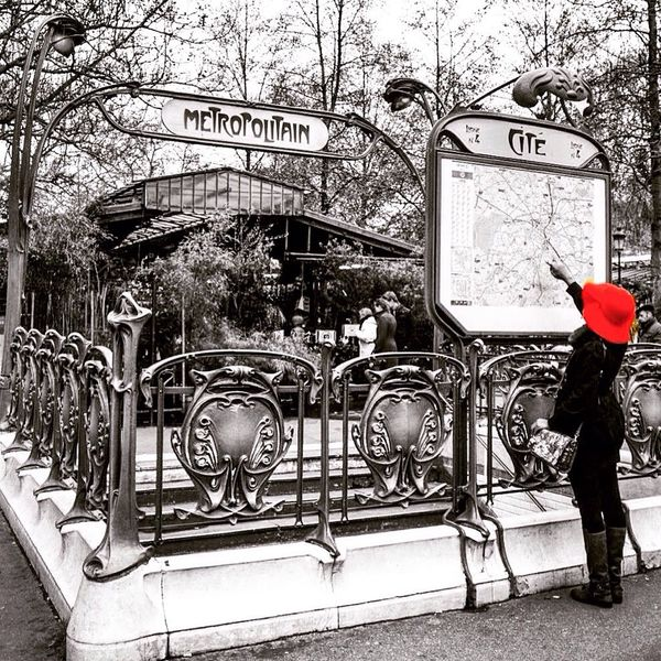 Paris, France  Paris Je T Aime Metro Streetphotography Taking Photos Bnw Blackandwhite People Watching Paris Where Am I? Red Red Hat