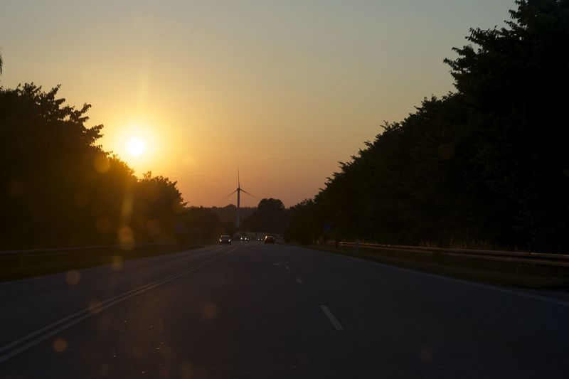 Empty road along trees at sunset