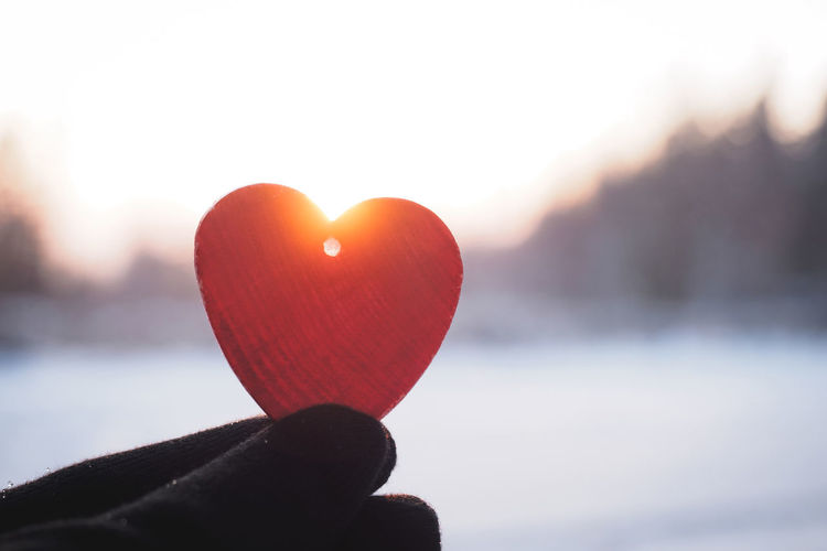Holding a red heart into the sun. Light Love Red Winter Close-up Cold Day Flare Freshness Gloves Hand Heart Heart Shape Holding Landscape Nature Outdoors Snow Sun Sunset Symbol