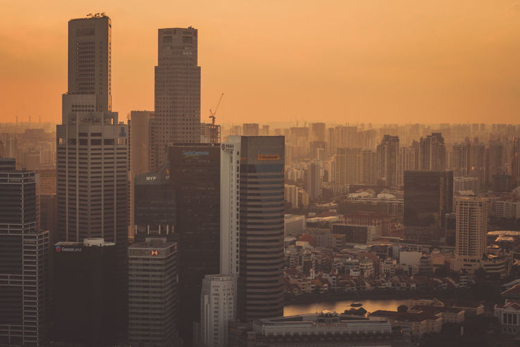 Marina Bay Skyline View Building Exterior Architecture Built Structure Building City Cityscape Office Building Exterior Skyscraper Sky Tall - High Residential District Sunset No People Modern Nature Urban Skyline Landscape Tower Outdoors Financial District  Smog Settlement