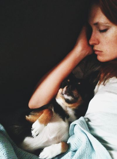 High Angle View Of Woman Sleeping With Dog