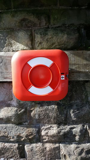 Lifeguard  Life Guard Health And Safety H&s Water Safety Swim Swimming Water Buoy Float Flotation Device Nautical Red And White Stone Wall