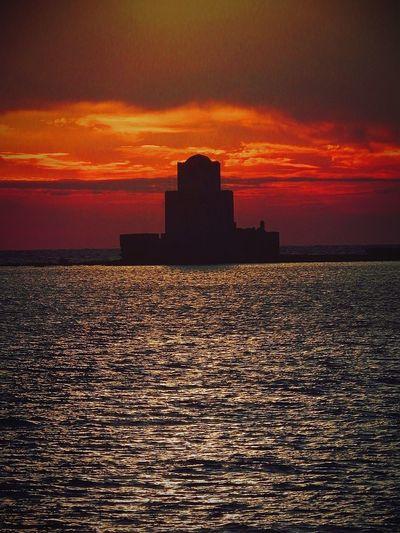 King of Methoni Symmetry Castle Bloodysunset Sea Sky Built Structure Cloud - Sky Orange Color Dramatic Sky Scenics